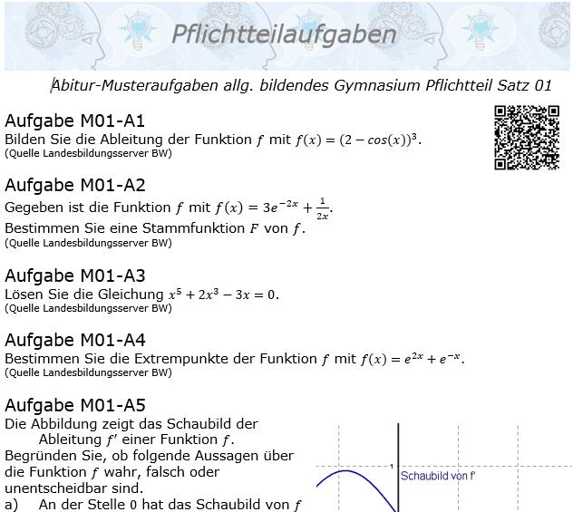 Abitur Pflichtteile ab 2019 Mustersatz 01 allg. bildendes Gymnasium © by www.fit-in-mathe-online