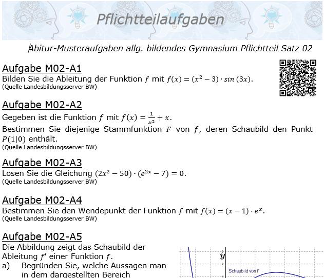 Abitur Pflichtteile ab 2019 Mustersatz 02 allg. bildendes Gymnasium © by www.fit-in-mathe-online