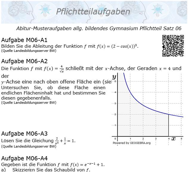 Abitur Pflichtteile ab 2019 Mustersatz 06 allg. bildendes Gymnasium © by www.fit-in-mathe-online