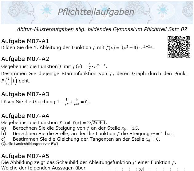 Abitur Pflichtteile ab 2019 Mustersatz 07 allg. bildendes Gymnasium © by www.fit-in-mathe-online