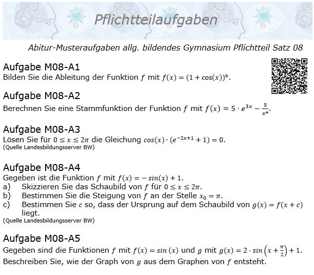 Abitur Pflichtteile ab 2019 Mustersatz 08 allg. bildendes Gymnasium © by www.fit-in-mathe-online