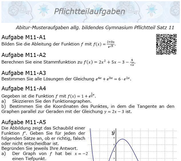 Abitur Pflichtteile ab 2019 Mustersatz 11 allg. bildendes Gymnasium © by www.fit-in-mathe-online