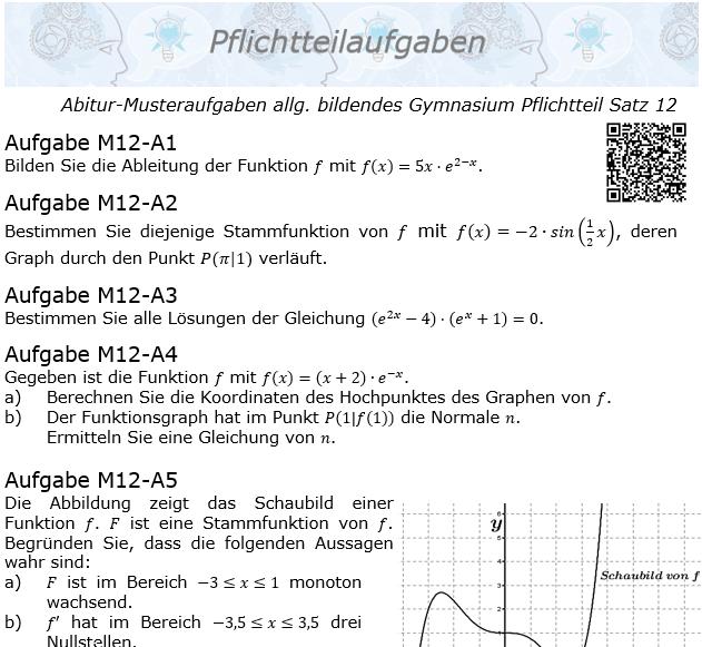 Abitur Pflichtteile ab 2019 Mustersatz 12 allg. bildendes Gymnasium © by www.fit-in-mathe-online