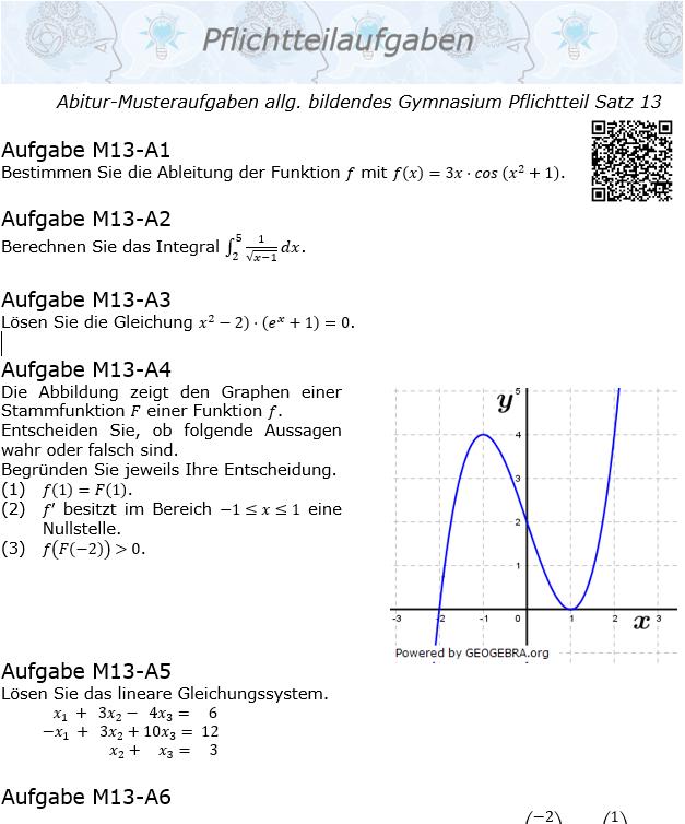 Abitur Pflichtteile ab 2019 Mustersatz 13 allg. bildendes Gymnasium © by www.fit-in-mathe-online