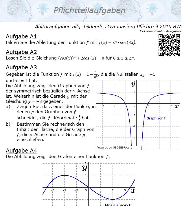 Abituraufgaben allg. bildendes Gymnasium Pflichtteil 2019 BW© by www.fit-in-mathe-online