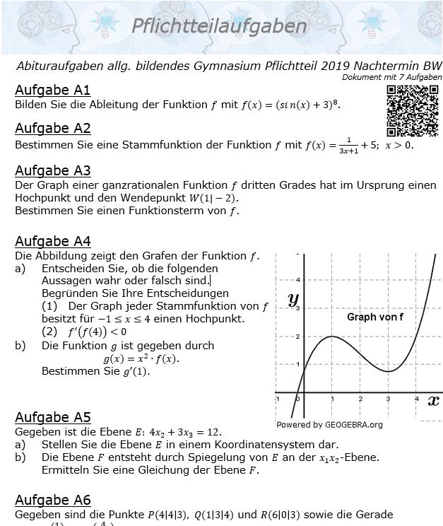 Abituraufgaben allg. bildendes Gymnasium Pflichtteil 2019 Nachtermin BW© by www.fit-in-mathe-online