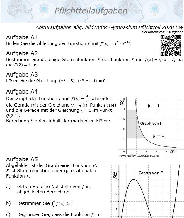 Abituraufgaben allg. bildendes Gymnasium Pflichtteil 2020 BW© by www.fit-in-mathe-online