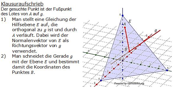 Lösung zur Abituraufgabe allg. bildendes Gymnasium Pflichtteilaufgaben 'Analytische Geometrie' 2011-3 Bild 1/© by www.fit-in-mathe-online.de