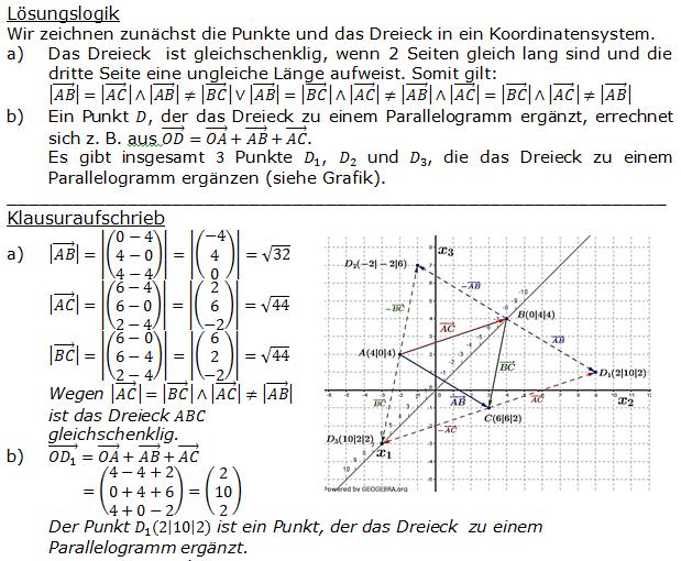 Lösung zur Abituraufgabe allg. bildendes Gymnasium Pflichtteilaufgaben 'Analytische Geometrie' 2015-6 Bild 1/© by www.fit-in-mathe-online.de