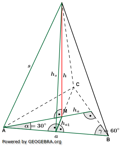 Berechnungsformeln der Höhe h einer Dreieckspyramide/© by www.fit-in-mathe-online.de