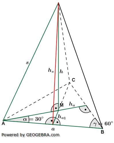 Berechnungsformeln der Seitenhöhe hs einer Dreieckspyramide/© by www.fit-in-mathe-online.de