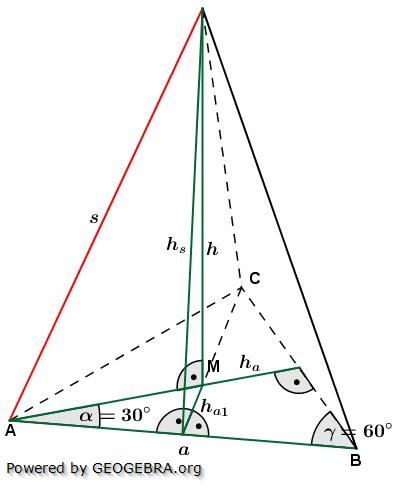 Berechnungsformeln der Seitenkante s einer Dreieckspyramide/© by www.fit-in-mathe-online.de