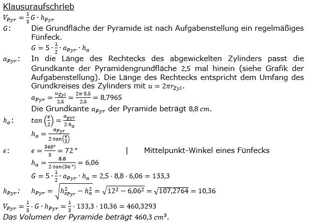 volumen sechsseitige pyramide