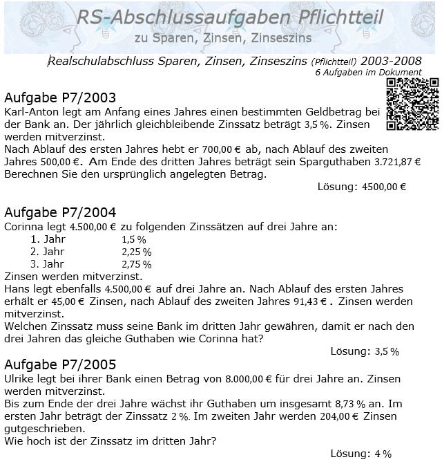 Realschule Abschlussprüfung Sparen, Zinsen, Zinseszins 2003-2008 / © by Fit-in-Mathe-Online.de