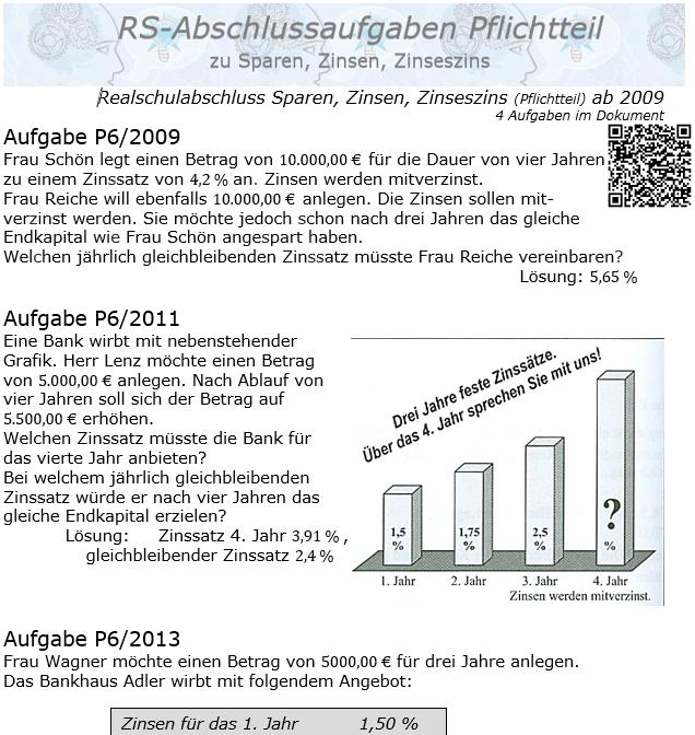 Realschule Abschlussprüfung Sparen, Zinsen, Zinseszins ab 2009 / © by Fit-in-Mathe-Online.de