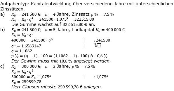 Lösungen zum Aufgabensatz A6 Graphik 1 Realschulabschluss Sparen Zinsen Zinseszins Übungsaufgaben/© by www.fit-in-mathe-online.de