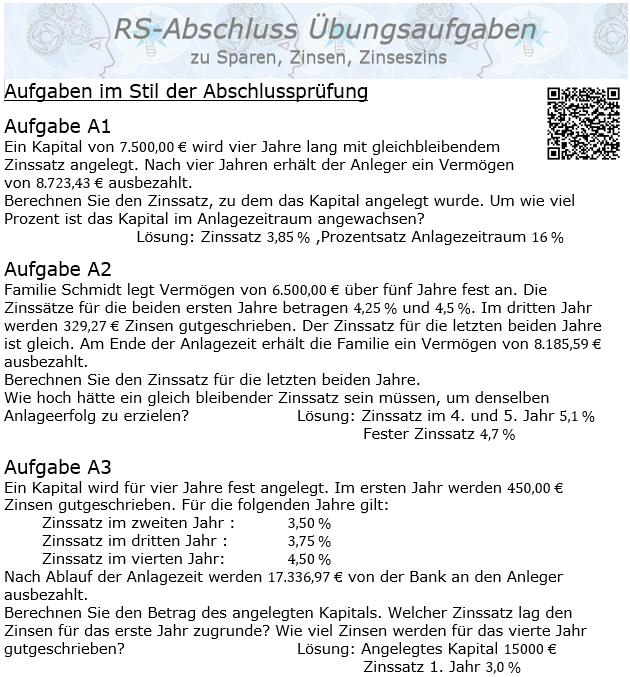 Realschule Abschlussprüfung Übungen zu Sparen, Zinsen, Zinseszins / © by Fit-in-Mathe-Online.de