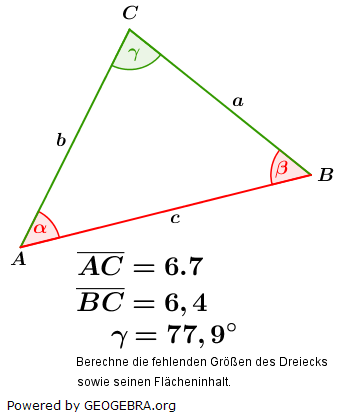 Kosinussatz der trigonometrischen Funktionen/© by www.fit-in-mathe-online.de
