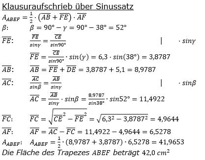 Realschulabschluss Trigonometrie Pflichtteil P22019 Lösung Sinussatz Bild 2/© by www.fit-in-mathe-online.de