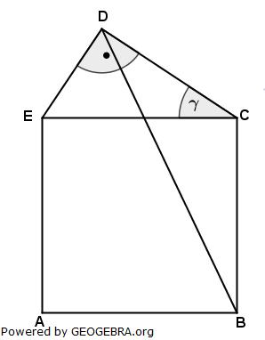 Das Fünfeck ABCDE besteht aus einem Quadrat und einem rechtwinkligen Dreieck. (Realschulabschluss Wahlteilaufgaben Trigonometrie Aufgabengraphik W3a2004/© by www.fit-in-mathe-online.de)