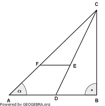 Im Dreieck ABC liegt das Trapez ADEF. (Realschulabschluss Wahlteilaufgaben Trigonometrie Aufgabengraphik W4b2005/© by www.fit-in-mathe-online.de)