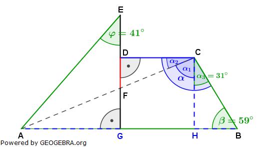 Realschulabschluss Trigonometrie Wahlteil W1a2006 Lösungs-Graphik/© by www.fit-in-mathe-online.de