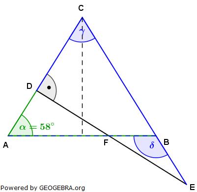 Realschulabschluss Trigonometrie Wahlteil W1a2007 Lösungs-Graphik/© by www.fit-in-mathe-online.de