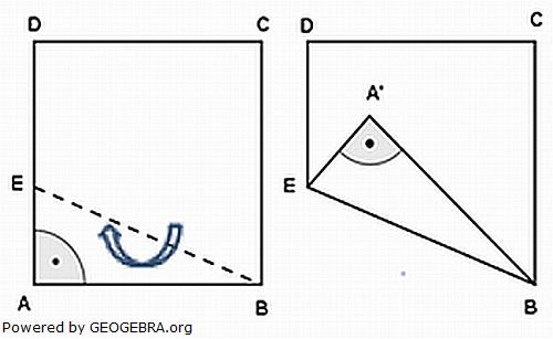 Ein quadratisches Blatt Papier (Format 10 cm X 10 cm) wird entlang von EB gefaltet. (Realschulabschluss Wahlteilaufgaben Trigonometrie Aufgabengraphik W4b2010/© by www.fit-in-mathe-online.de)