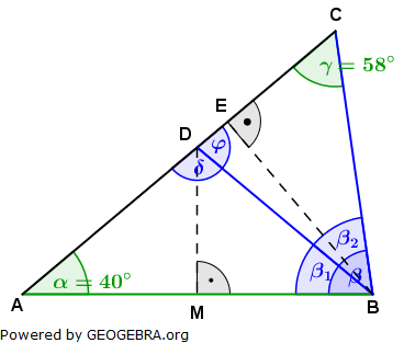Realschulabschluss Trigonometrie Wahlteil W1a2011 Lösungs-Graphik umständlich/© by www.fit-in-mathe-online.de