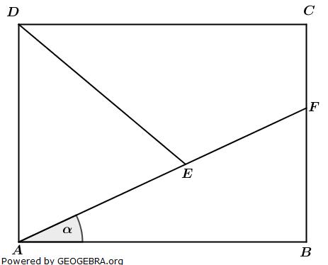 Im Rechteck ABCD sind gegeben: (Realschulabschluss Wahlteilaufgaben Trigonometrie Aufgabengraphik W1a2014/© by www.fit-in-mathe-online.de)