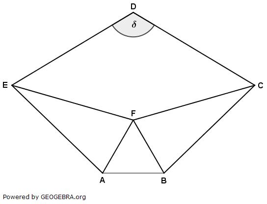Das Fünfeck ABCDE besteht aus dem gleichseitigen Dreieck ABF, den beiden gleichschenkligen Dreiecken AFE und FBC sowie dem Drachenviereck DEFC. (Realschulabschluss Wahlteilaufgaben Trigonometrie Aufgabengraphik W1a2019/© by www.fit-in-mathe-online.de)