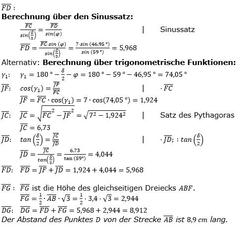 Realschulabschluss Trigonometrie Wahlteil W1a2019 Lösung Bild 4/© by www.fit-in-mathe-online.de
