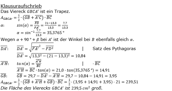 Realschulabschluss Trigonometrie Wahlteil W1b2019 Lösung Bild 2/© by www.fit-in-mathe-online.de