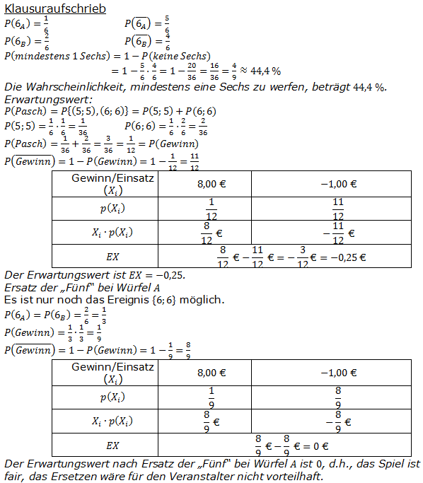 Berühmt Wahrscheinlichkeit Einer Tabelle 8. Klasse Fotos ...