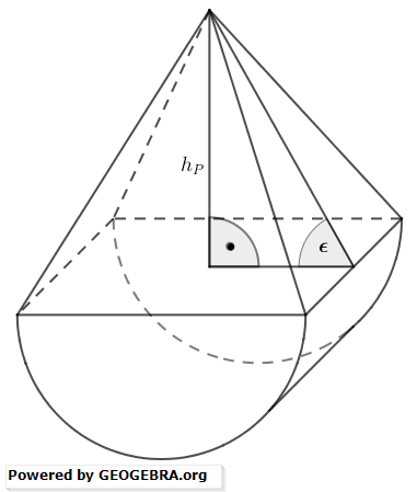 Ein Körper setzt sich aus einem halben Zylinder und einer quadratischen Pyramide zusammen. (Realschulabschluss Zusammengesetzte Körper Aufgabengraphik Pflichtteilaufgabe P3/2017/© by www.fit-in-mathe-online.de)