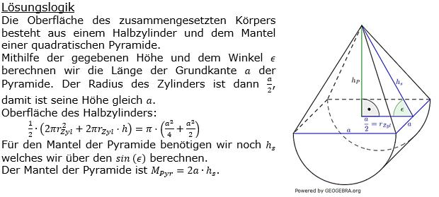 Realschulabschluss Zusammengesetzte Körper Lösungen Pflichtteilaufgabe P3/2017 Bild 1/© by www.fit-in-mathe-online.de