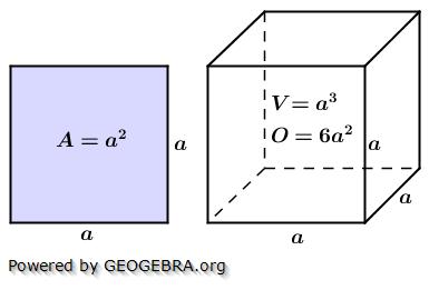Fläche Quadrat; Oberfläche und Volumen Würfel/© by www.fit-in-mathe-online.de