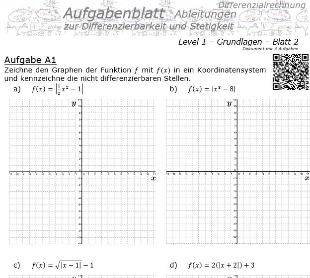Differenzierbarkeit und Stetigkeit Aufgabenblatt 1/2 / © by Fit-in-Mathe-Online.de