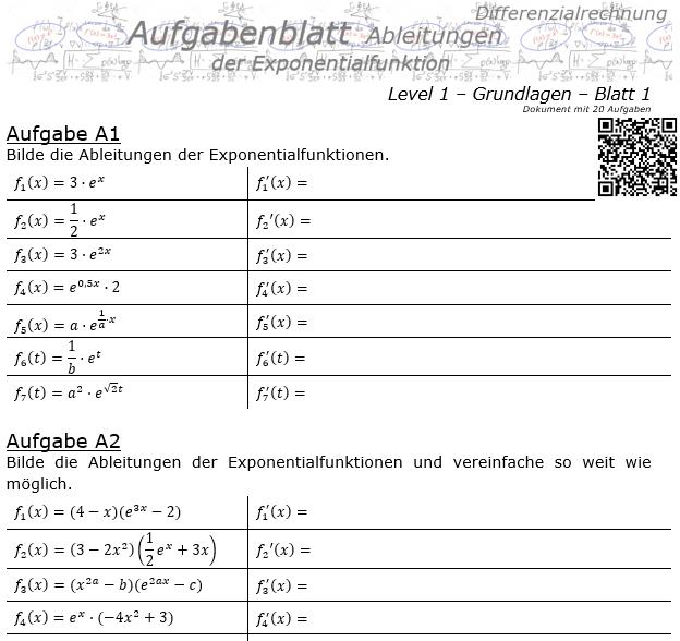 Ableitung der Exponentialfunktion Aufgabenblatt 1/1 / © by Fit-in-Mathe-Online.de