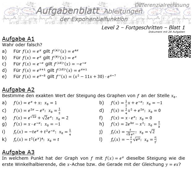 Ableitung der Exponentialfunktion Aufgabenblatt 2/1 / © by Fit-in-Mathe-Online.de