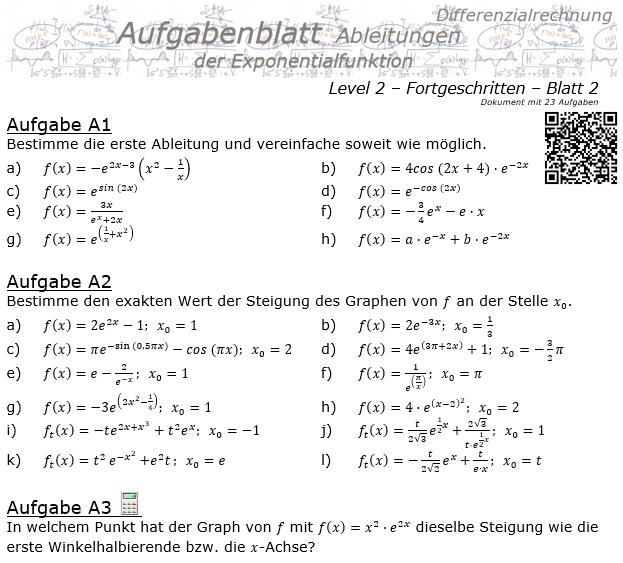 Ableitung der Exponentialfunktion Aufgabenblatt 2/2 / © by Fit-in-Mathe-Online.de