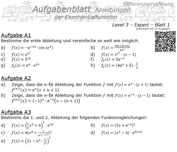 Ableitung der Exponentialfunktion Aufgabenblatt 3/1 / © by Fit-in-Mathe-Online.de