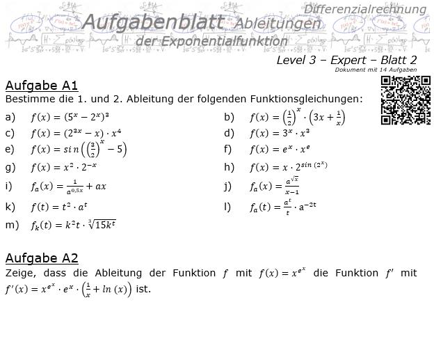 Ableitung der Exponentialfunktion Aufgabenblatt 3/2 / © by Fit-in-Mathe-Online.de