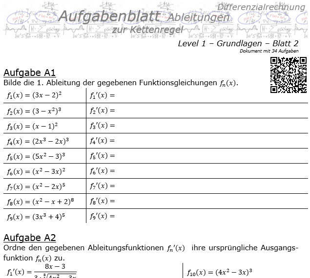 Kettenregel Aufgabenblatt Level 1 / Blatt 2 / © by Fit-in-Mathe-Online.de
