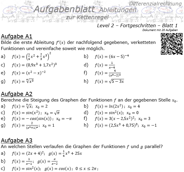 Kettenregel Aufgabenblatt Level 2 / Blatt 1 / © by Fit-in-Mathe-Online.de