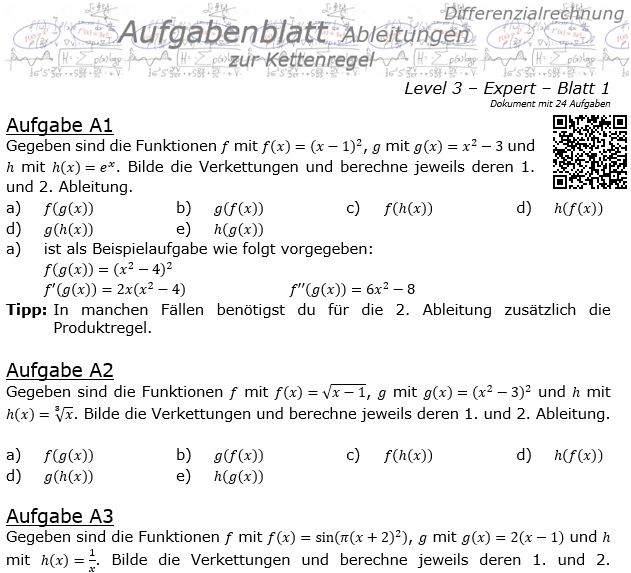 Kettenregel Aufgabenblatt Level 3 / Blatt 1 / © by Fit-in-Mathe-Online.de