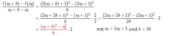 Wenn wir diese beiden Differenzenquotienten bei der Untersuchung von (*) verwenden wollen, müssen wir den Differenzenquotienten f in (*) geschickt umformen. (WIKI zur Ableitung mit der Kettenregel. (Bild W0009/© by www.fit-in-mathe-online.de)