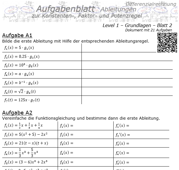 Konstanten-/Faktor-/Potenzregel Aufgabenblatt Level 1 / Blatt 2 / © by Fit-in-Mathe-Online.de