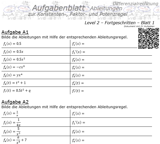 Konstanten-/Faktor-/Potenzregel Aufgabenblatt Level 2 / Blatt 1 / © by Fit-in-Mathe-Online.de