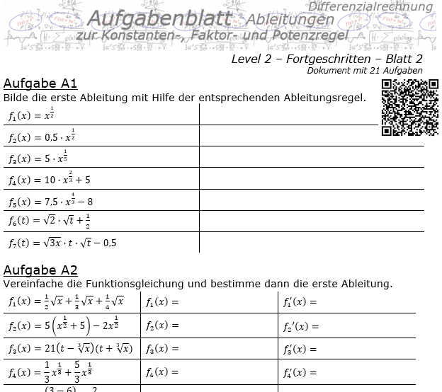 Konstanten-/Faktor-/Potenzregel Aufgabenblatt Level 2 / Blatt 2 / © by Fit-in-Mathe-Online.de
